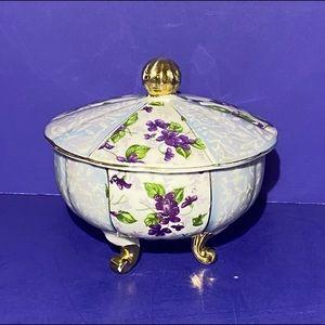 Vintage Porcelain Floral Round TRINKET BOX